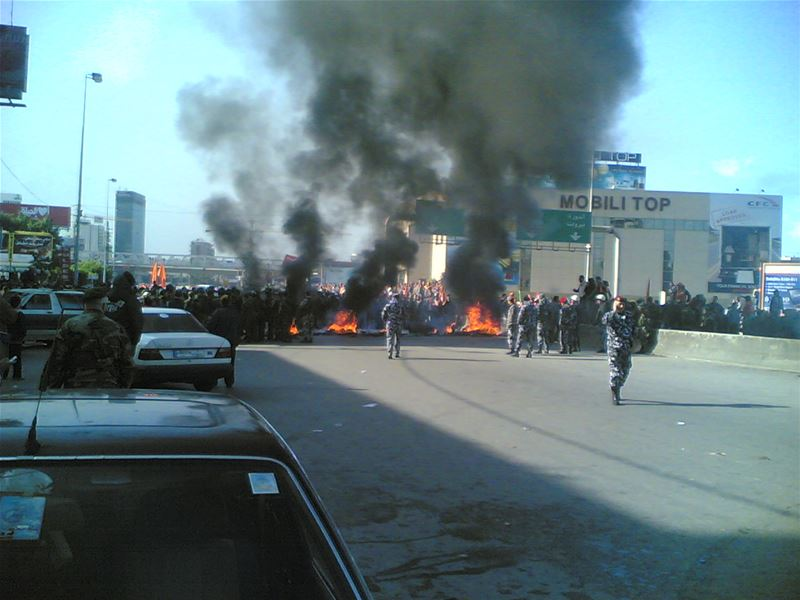 Al Tayyar Supporters Blocking the Jal-el-Dib Zalka Highway