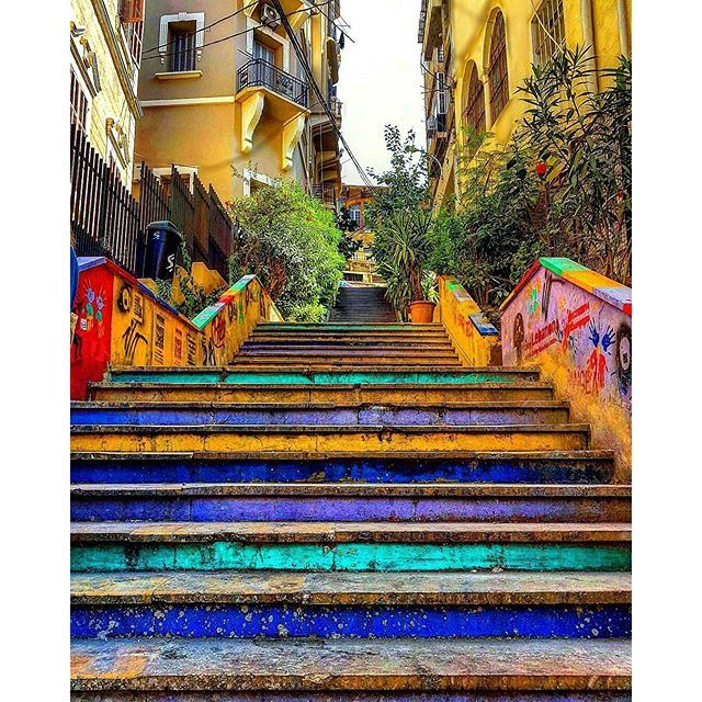 Our own Spanish steps 💛💙❤💜 (Gemmayzeh, Beirut)