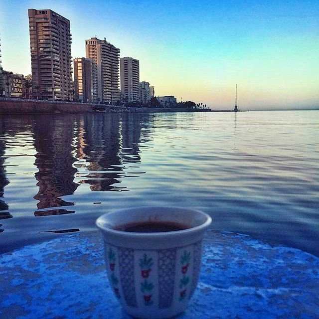 Coffee by the sea ☕️🌊 Rising with the sun 🌄💛 (Ain El Mrayseh)
