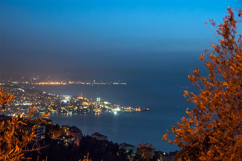 Jounieh at Night with a Pinch of Autumn Leaves and Colors Up-Front