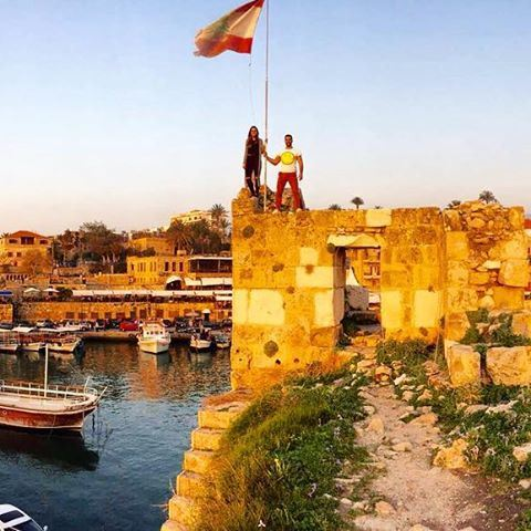 Panoramic view of Byblos port...