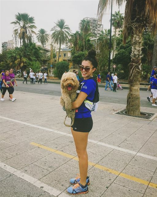 So i thought why not take my baby dog with me to run this year's marathon. (Beirut Corniche)