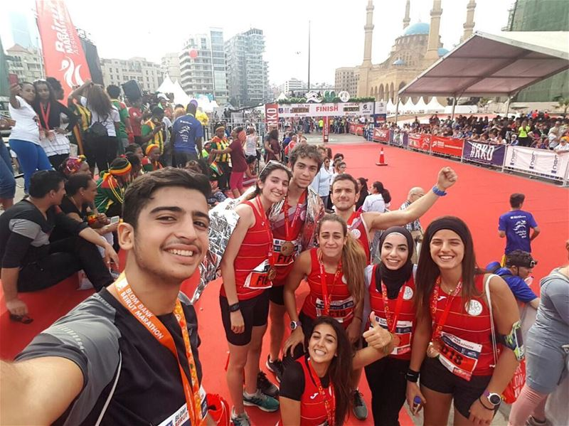 Some team spirit at the finish line of the Beirut Marathon🎊🎉🏃🏃
