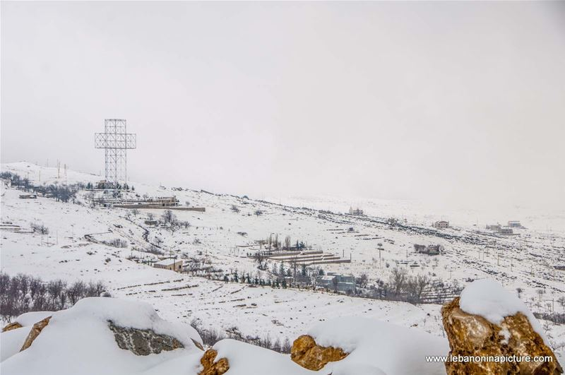 The Biggest Illuminated Cross in the World Dressed for Snow (Qanat Bakich, Lebanon)