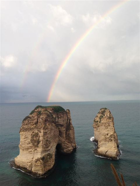 Raouche with Rainbow by Soha Aboulhosn Aridi‎ / Facebook
