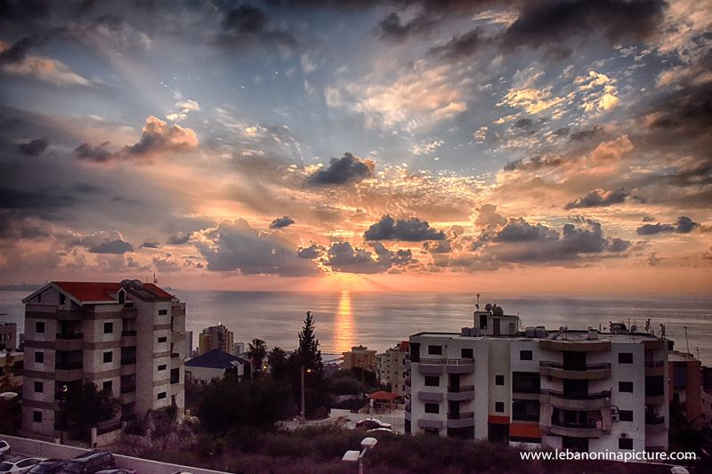 A beautiful winter cloudy sunset over the Mediterranean (Adma, Lebanon)