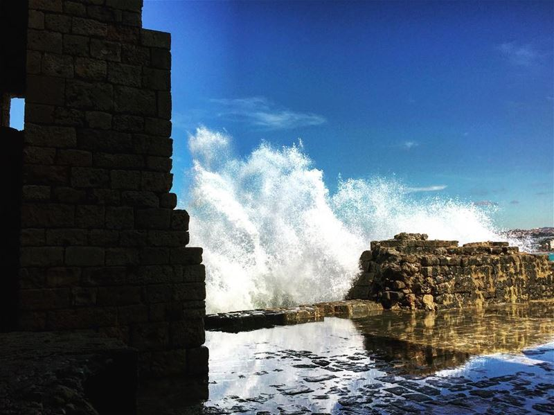 It went 'woosh' and it washed it all away. wave  sidon  saida  south ... (Sidon Sea Castle)