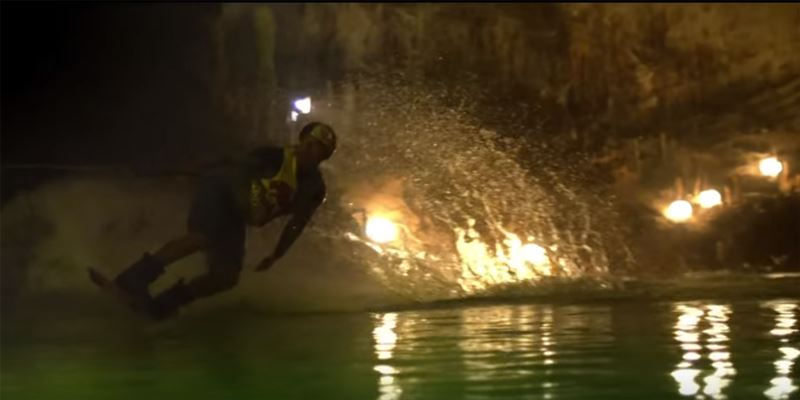 Wakeboarding in the Jeita Grotto (video)