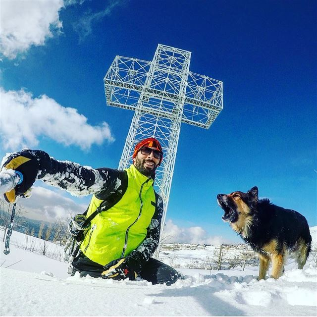 Dodger_TheDog was so excited to reach the biggest  light  cross in the ... (Kanat Bakich)