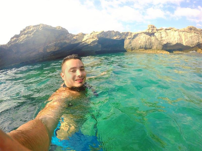 monday swimming diving freediving beach rock blue green clouds nature...