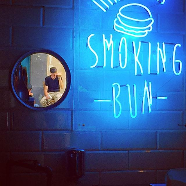 Objects in mirror are closer than they appear!  mirror  onthewall  neon ... (Smoking Bun)