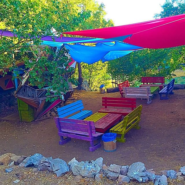 Color therapy!  camp  chahtoul  serenity  nature  shades  benches  outdoor... (Chahtoul Camping)