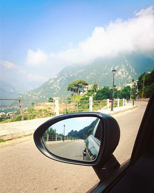 Two points of view. mirror  driving  car  lebanon  mountain  kesserwan ... (Yahchouch)