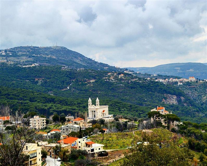 Beautiful jezzine church  village  reserveforest  trees  houses ...