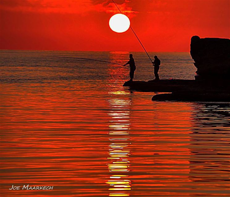Fisherman, byblos bay.  lebanon   jbeil  byblos  fisherman  sunset  shadow...