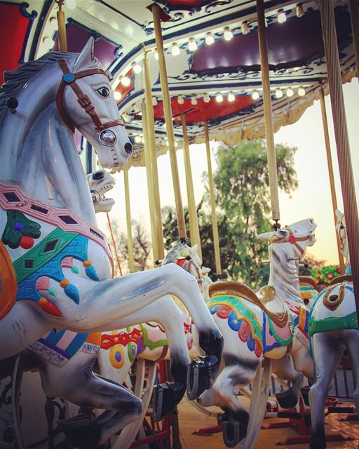 Laughters, colors, lights & music. carrousel  horse  horses  themepark ... (Beirut, Lebanon)