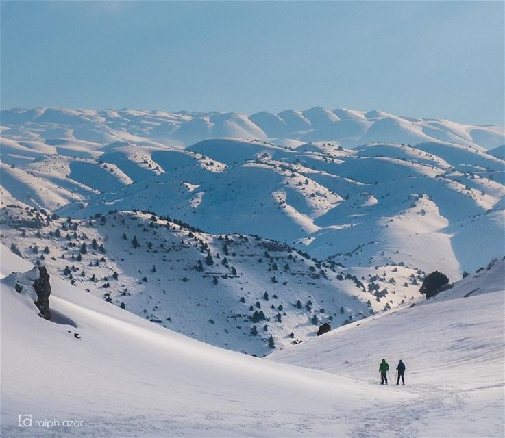 Snowshoeing in the Mejdel Akoura highlands. mountains  lebanon ... (El Mejdel, Mont-Liban, Lebanon)