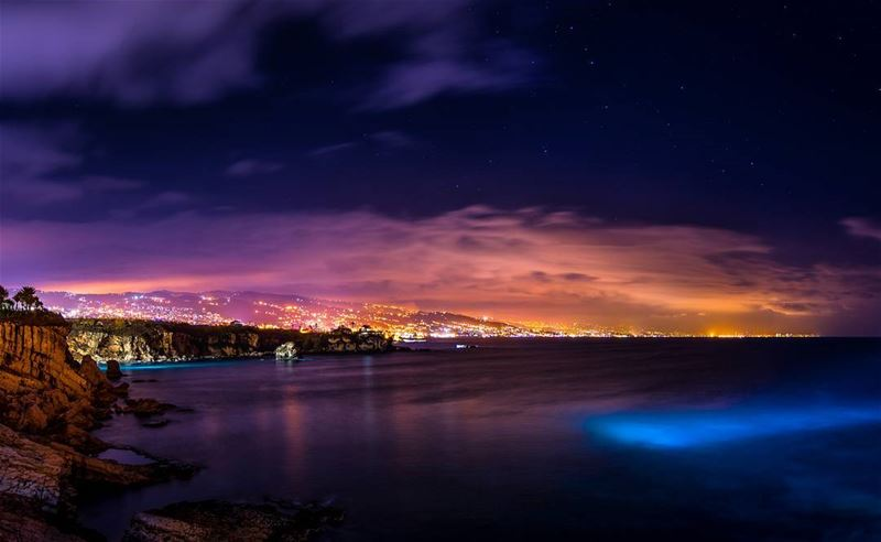 colorful  sea  night  nightphotography  water  city  citylights  clouds ... (Byblos, Lebanon)
