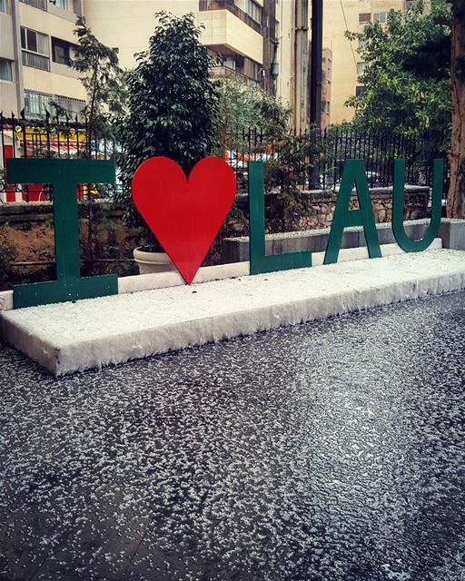 REAL ice for the warm hearts..❄❤❄This is February in Beirut!!... (LAU)
