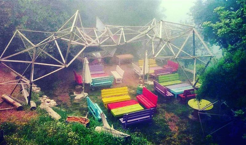 ...Into the Fog ☁⛺☁ chahtoulcamping  camping  fog  mist  foggy  woodbench... (Chahtoul Camping)