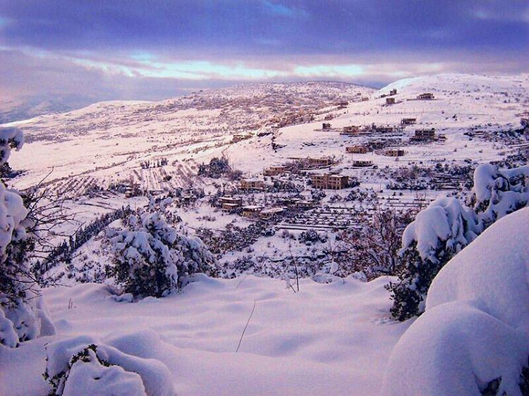 When snow falls, nature listens!  mountains  snow  calm  beautiful ... (Mazra`At Ash Shuf, Mont-Liban, Lebanon)