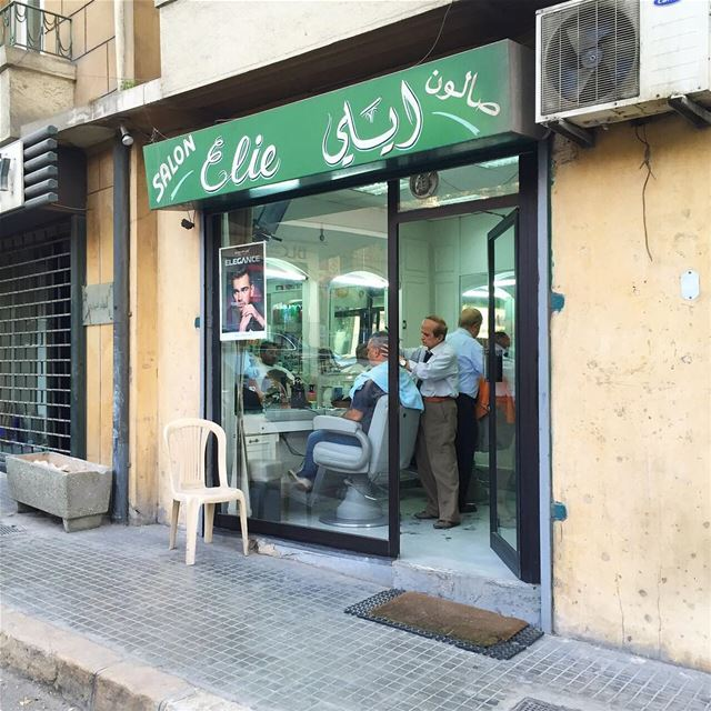 "Sticking to tradition: ""Salon Elie"", barber's shop ✂️, Ashrafieh, Beirut,... (Achrafieh, Beirut)"
