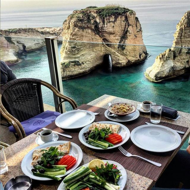 Not a half bad way to start your Saturday morning, or any morning for that... (Pigeon Rocks, Beirut)