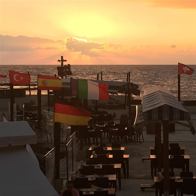 We are sooo ready for the Euro Cup tonight! The sun is down. The flags are... (Al Marsa - Byblos Sur Mer)