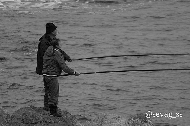 fisherman  fishing  beach  sea  seaside  waves  hunting  blackandwhite ... (Amchitt, Mont-Liban, Lebanon)