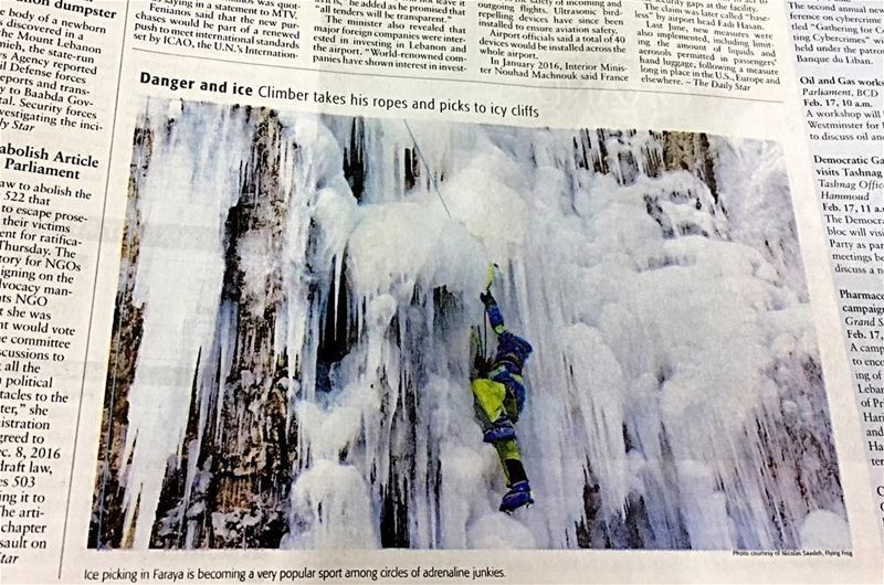dailystar  newspaper Danger and Ice, Climber takes his ropes and picks to... (Faraya, Mont-Liban, Lebanon)