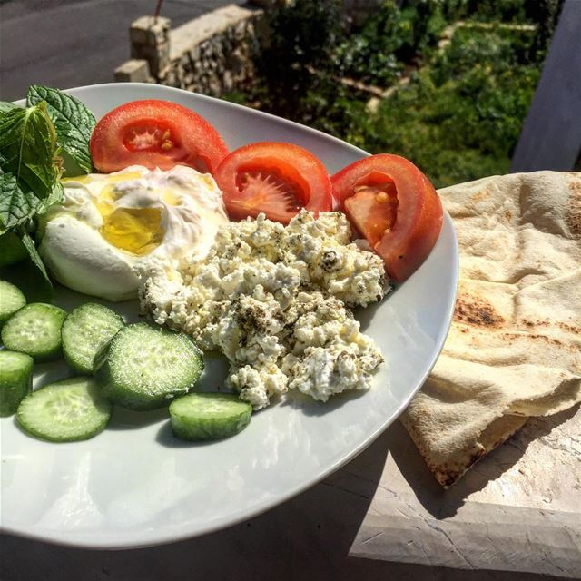 And my  plate of course  labneh  fetacheese  vegetables  protein ... (Ansar Lebanon أنصار جنوب لبنان)