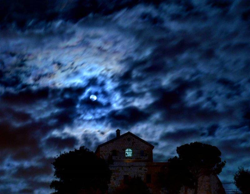 Church of St.Michael night winter cold moon fullmoon clouds stars... (Mar Moussa Douwar)