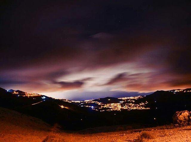 snow sanine clouds storm lebanon stars moon lights village landscape... (Mount Sannine)