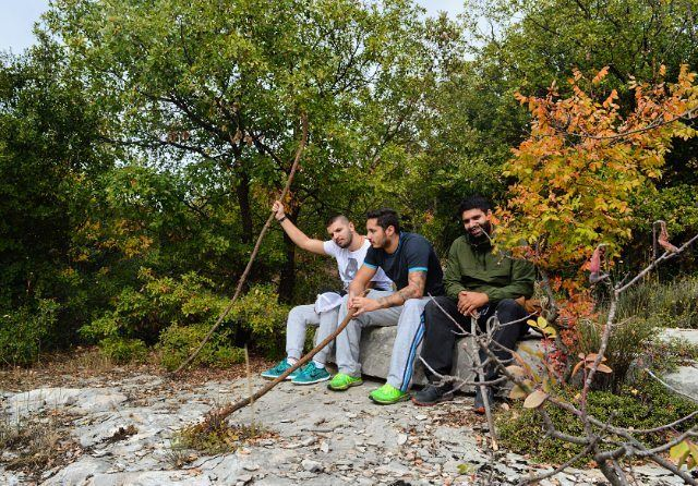 sunday hike hiking autumn nature forest colorful resting rock camp... (Bekaatat Kanaan)