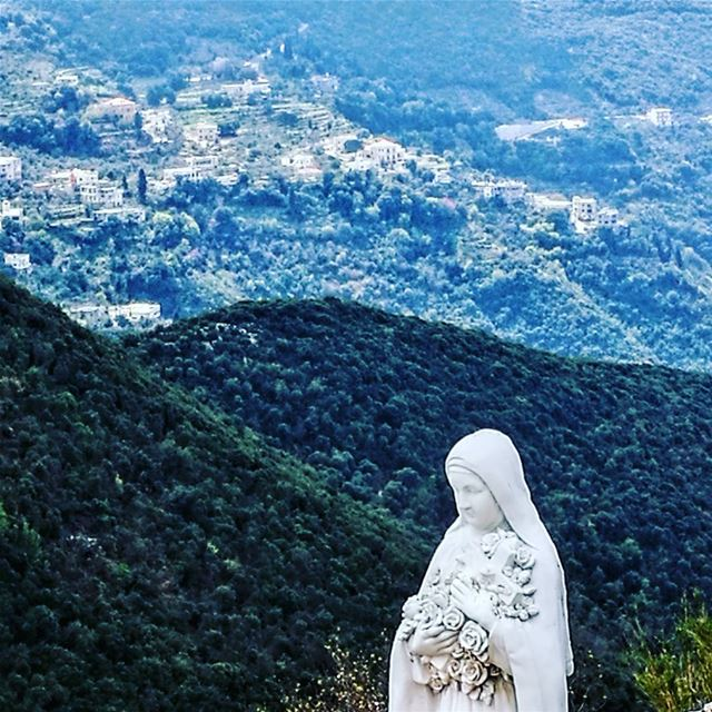 The Virgin guarding over the valley lebanontraveler lebanoninapicture ... (Smar Jubayl, Liban-Nord, Lebanon)