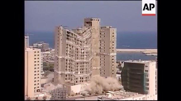 هدم فندق الهيلتون بيروت ٢٠٠٢