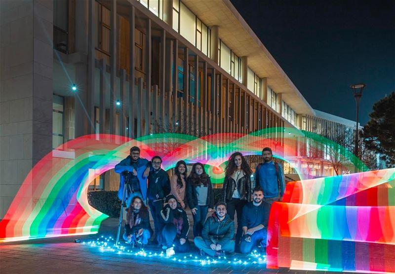"Beautiful attendees from yesterday's ""light painting"" workshop at the... (University of Balamand)"