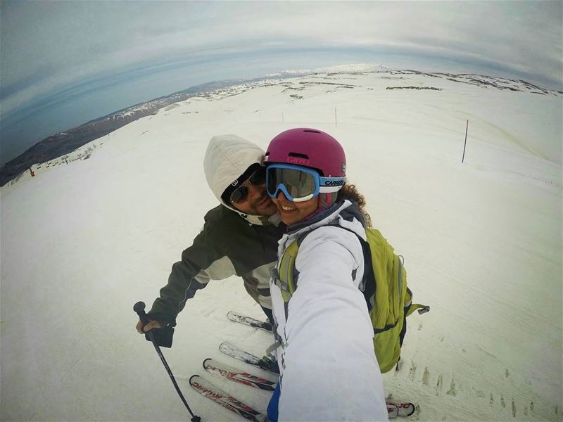 skiing withhim mzaar selfie highestslope ski snow mountains ...
