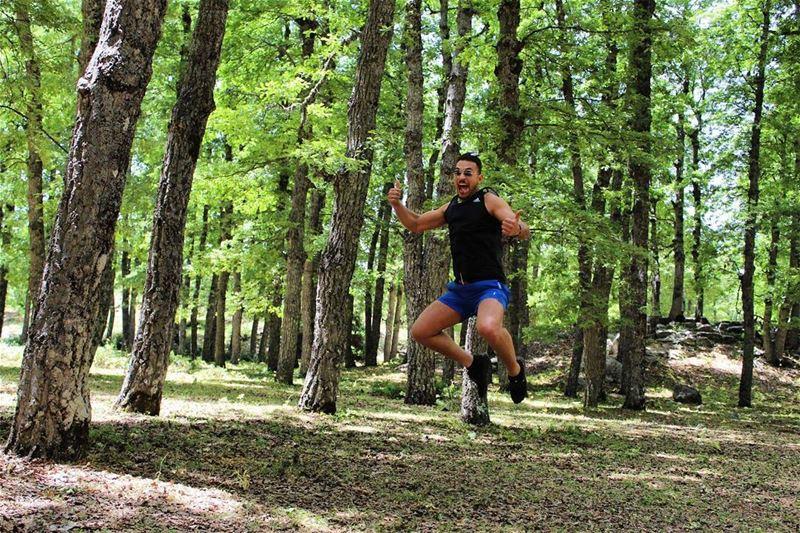 hiker sunday adventure jumping forest lebaneseforest livelovesports ... (غابة العزر-القموعة)
