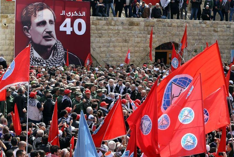 Walid Jumblatt commemorating the 40th anniversary of assassination of his father Kamal Jumblatt, in al-Moukhtara. (WAEL HAMZEH / EPA) via pow.photos