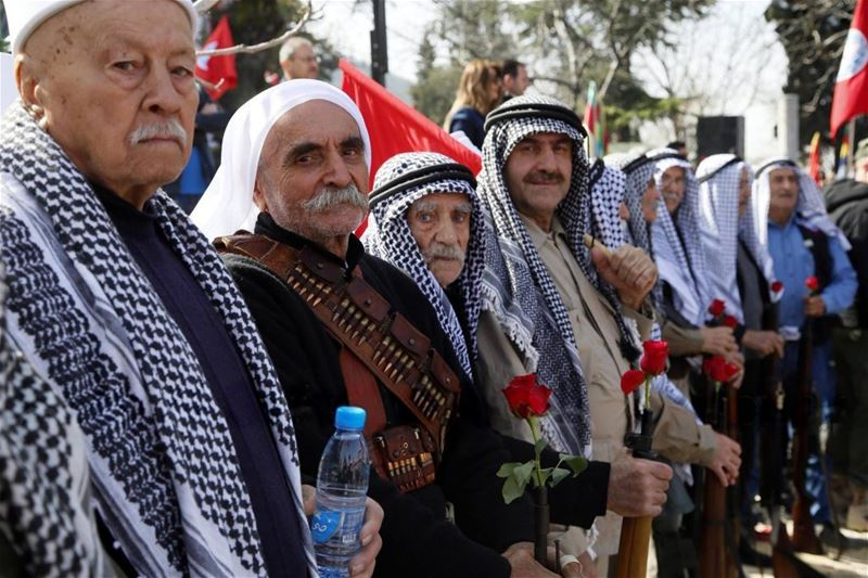 People attend a commemoration ceremony held to mark the 40th death anniversary of Kamal Jumblatt in Moukhtara. (Ratib Al Safadi / Anadolu) via pow.photos