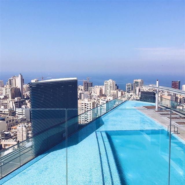 Shooting day💃📷 rooftop beirut sun blue sea ocean city cityscape ... (Beirut, Lebanon)