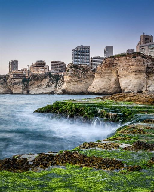 .Beautiful Rocky beach of Beirut, Lebanon | Long exposure | Good evening... (Beirut, Lebanon)