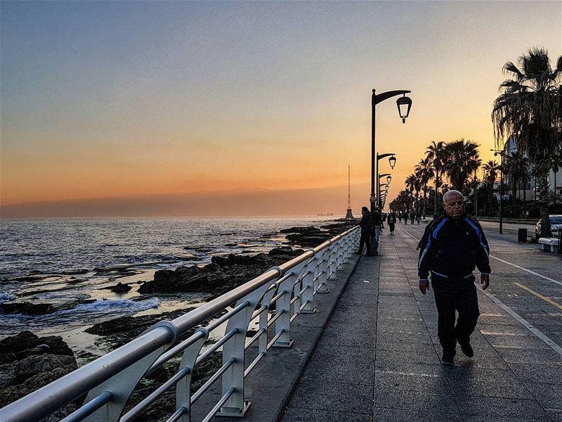 mediterranean sunrise lifestyle in corniche beirut lebanon... (Beirut, Lebanon)