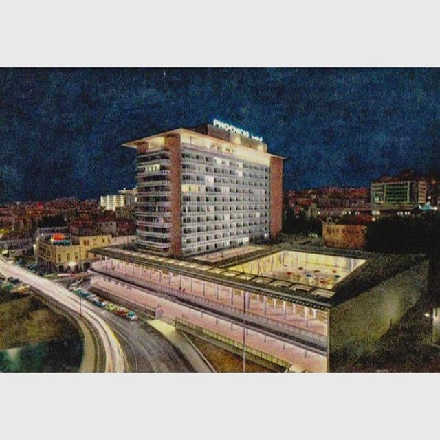 Beirut Phoenicia Hotel At Night in 1962 .