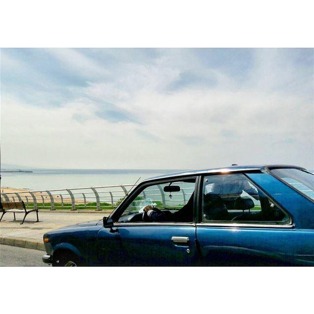 Drive-by Landscape ontheroad blue vintage car coastroad sky clouds ... (Beirut, Lebanon)