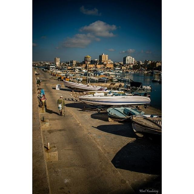 boats  harbor  shades  sea  deck  sun  sky  buildings  tyre  livelovetyre... (Tyre, Lebanon)