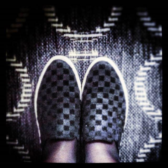 ▫▪◽◾◻◼🔲 squares checkered black white slipons shoes feet b&w ...