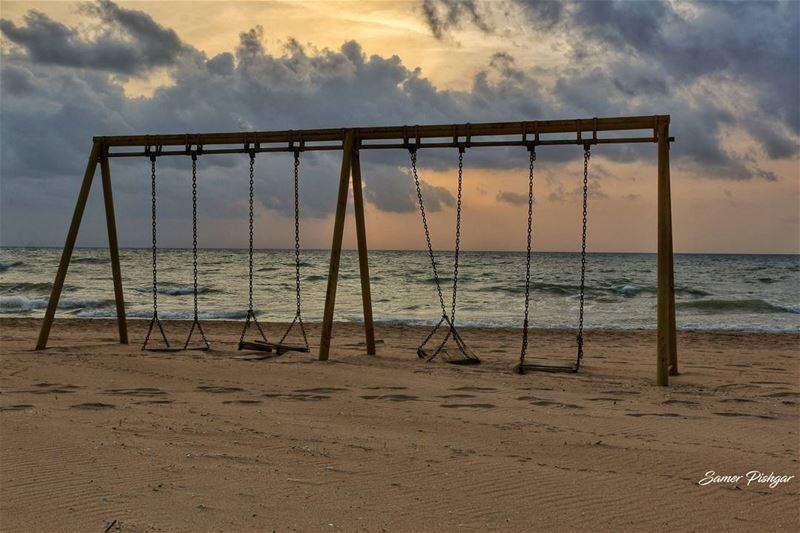 The abandoned swing.. Beirut ... sunset sunlight sunshine Lebanon ...