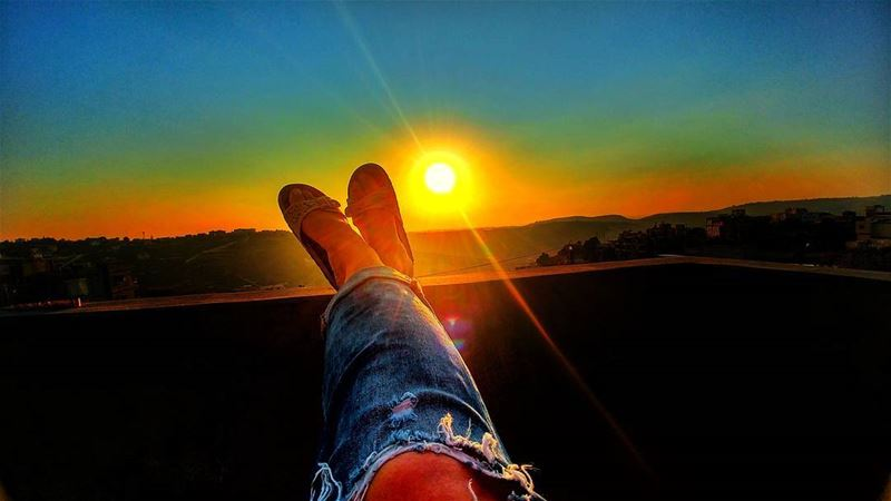 A perfect way to end the day ! .... sun sunset sky me jeans pic ...